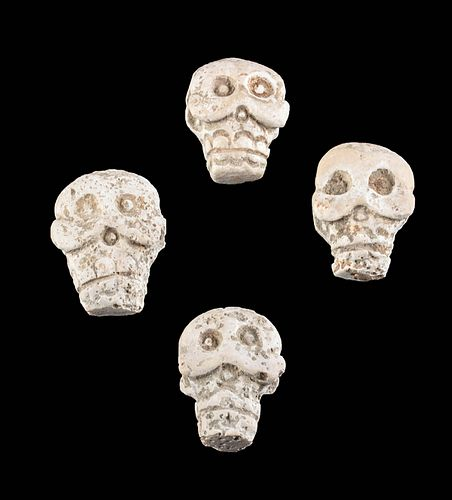 Lot of 4 Maya Carved Stone Skull Amulets