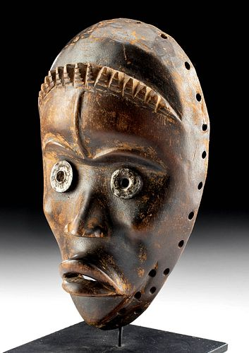 20th C. African Dan Wood Bagle Mask w/ Brass Eyes