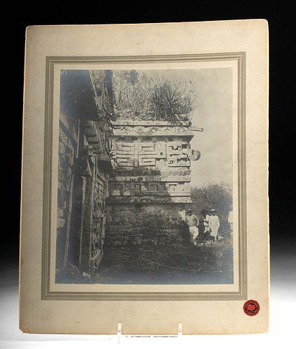 P. Guerra Albumin Print, La Iglesia, Chichen Itza, 1909