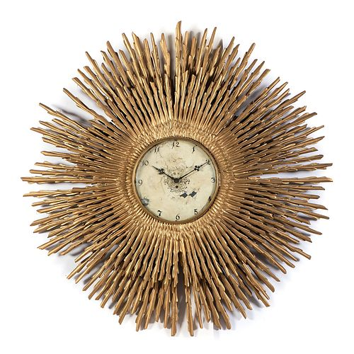 A Giltwood Sunburst Clock with Japy Freres Movement