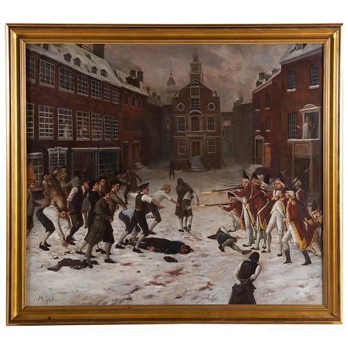 "Nathaniel K. Gibbs. ""March 5, 1770,"" oil on canvas"