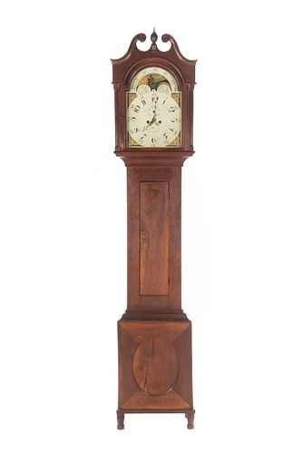 Federal Cherry Tall Case Clock, Eli Bentley