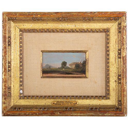 "Thomas Cole. ""Italian Cottage,"" diminutive oil"