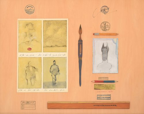 """Saul Steinberg """"Relics III"""" Mixed Media Collage/Painting"""