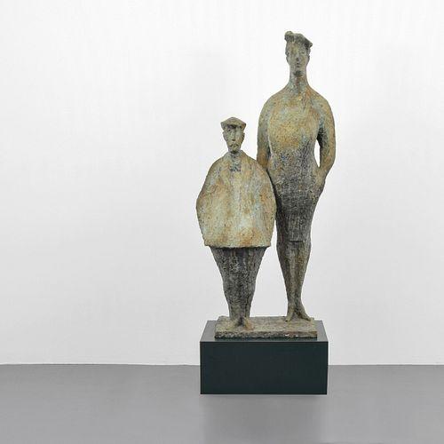 "Monumental Chaim Gross Figural Bronze Sculpture, 68"""
