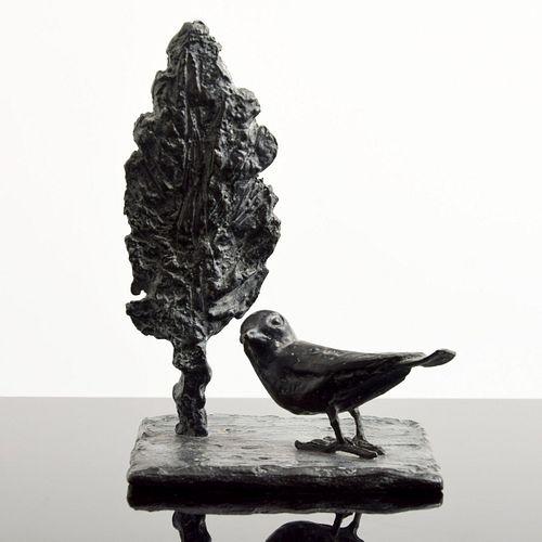 "Diego Giacometti Bronze ""Oiseau et Arbre"" Sculpture"