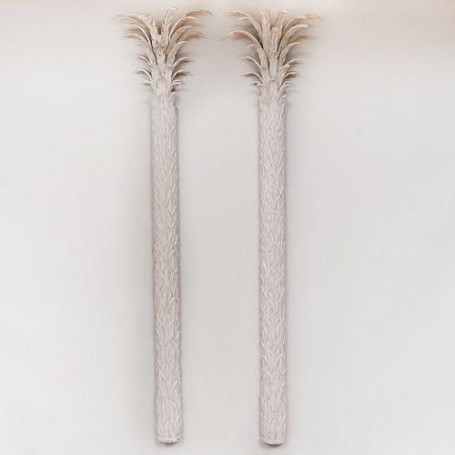 Pair of Modern Carved and Painted Wood Palm Tree Pilasters John Roselli Design