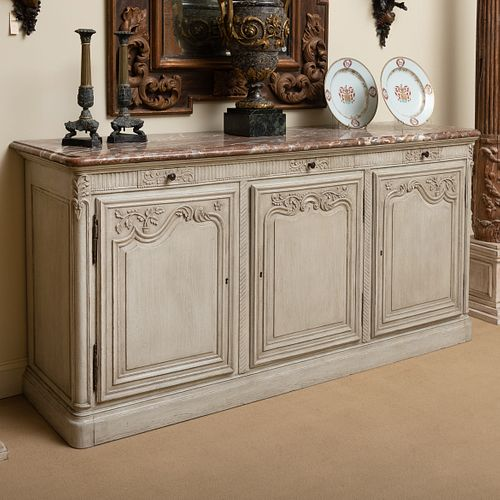 Louis XV Style Provincial Pale Grey Painted Buffet