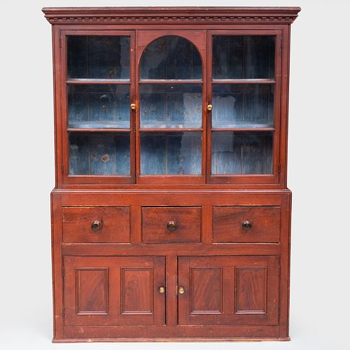 American Red Painted and Faux Grained Cabinet