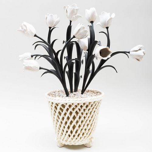 Contemporary White Porcelain Cachepot and Porcelain Mounted Tôle Tulips