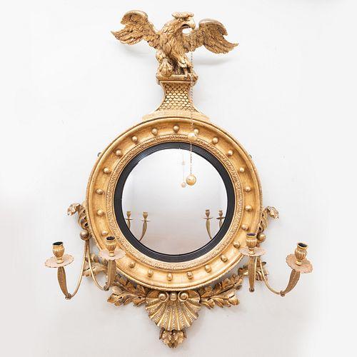 Fine and Large Regency Giltwood Convex Girandole Mirror, Irish