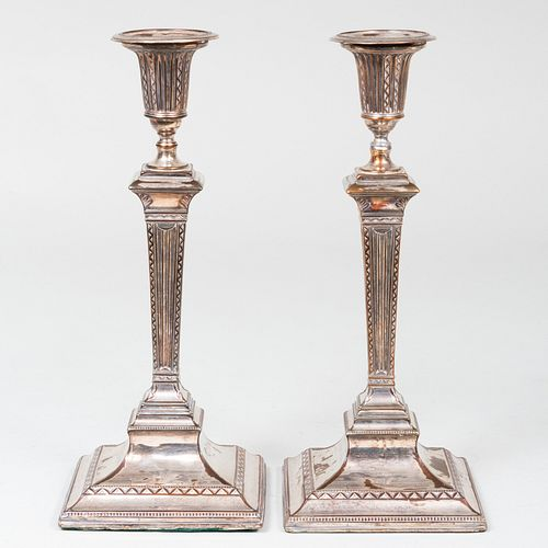 Pair of Sheffield Plate Candlesticks