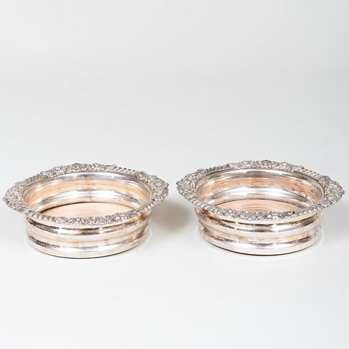 Pair of Silver Plate Wine Bottle Coasters