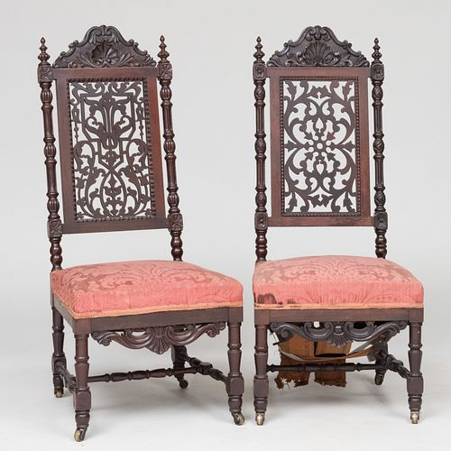 Assembled Pair of Victorian Rococo Revival Rosewood Side Chairs