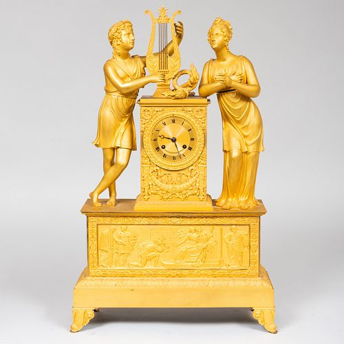 Empire Ormolu Figural Mantel Clock