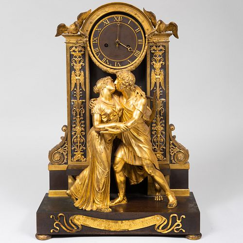 French Gilt-Bronze Mantel Clock 'The Reconciliation', After a Design by Claude Galle