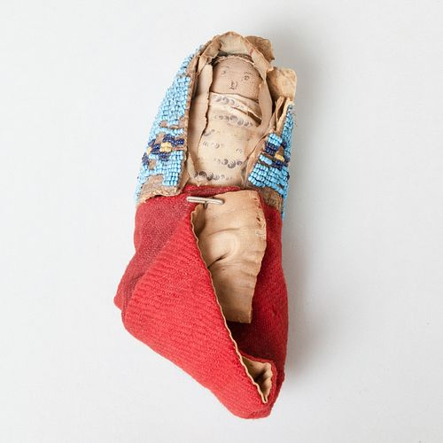 Sioux Beaded Cloth and Paper Model Cradleboard with Doll, Northern Plains.