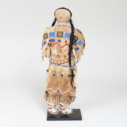 Plains Beaded Hide and Metal Doll