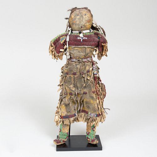 Plains Beaded and Hide Doll, Possibly Kiowa, Southern Plains