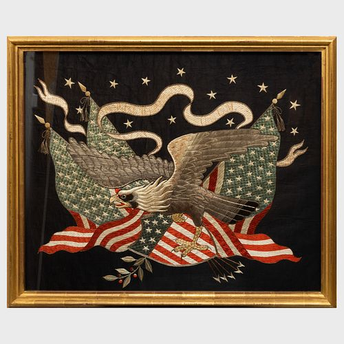 Japanese Export Embroidered Eagle Picture