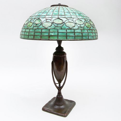Tiffany Studios Patinated Bronze Urn Form Lamp Base and a Leaded Glass 'Acorn' Shade