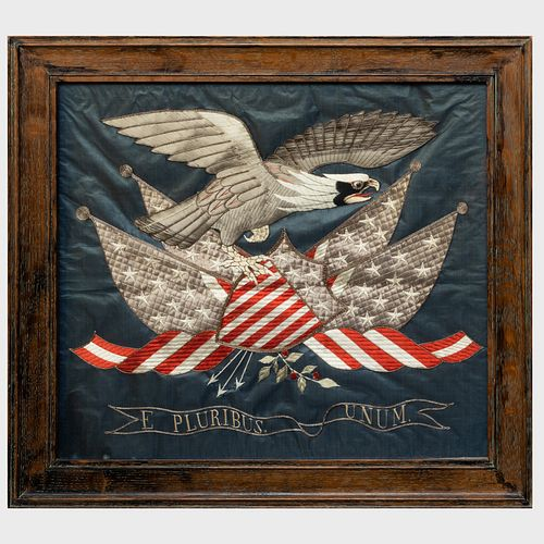 Japanese Export Embroidered Eagle and Flags Picture