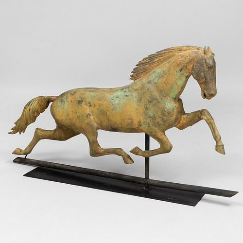 Running Horse Gilt-Metal Weathervane attributed to Whiting & Co.