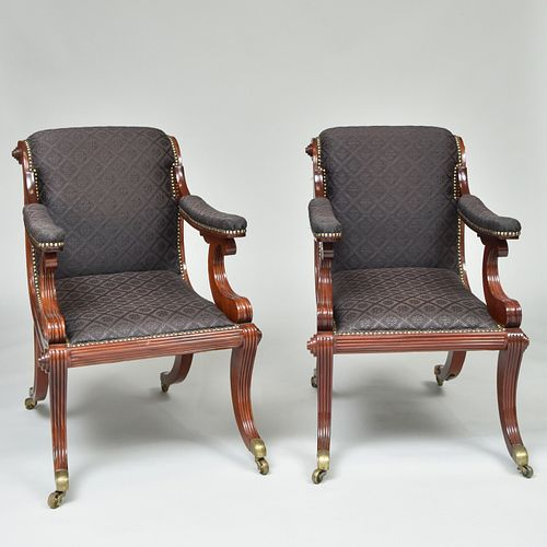 Pair of Federal Style Carved Mahogany Armchairs, Mid Atlantic States