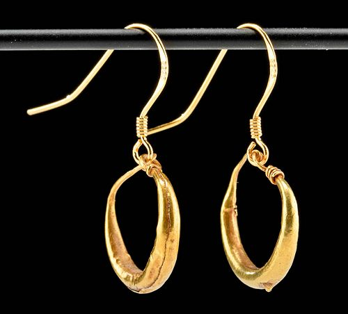 Wearable 1st C. Roman Gold Hoop Earrings (pr)
