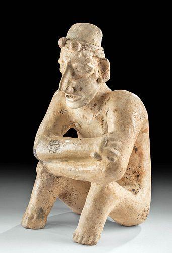 Jalisco Ameca Grey Type Pottery Seated Male Figure
