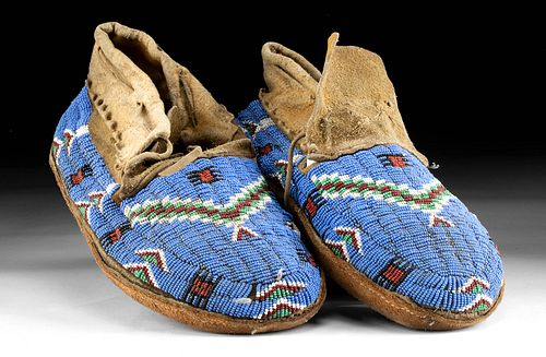 Pair of 19th C. Sioux Beaded Leather Moccasins