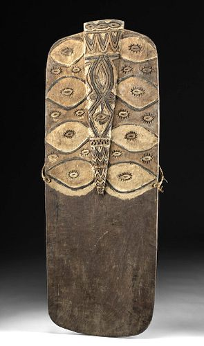 Exhibited 20th C. Papua New Guinea Ramu Wood Shield