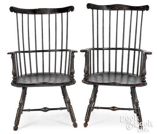 Rare Philadelphia combback Windsor armchairs