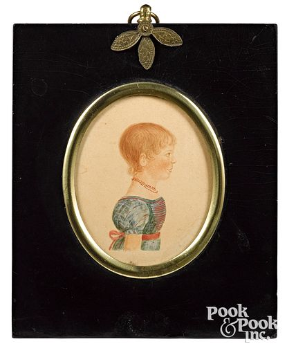 Two miniature watercolor child portraits, 19th c.