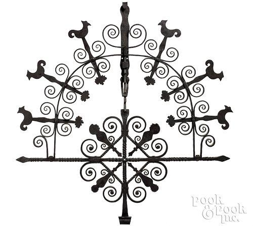 Elaborate Pennsylvania wrought iron pot rack