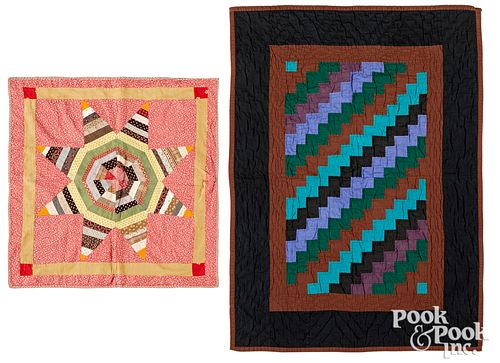 Amish crib quilt, together with a star doll quilt