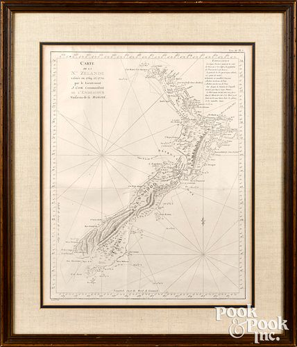 Early engraved map of New Zealand