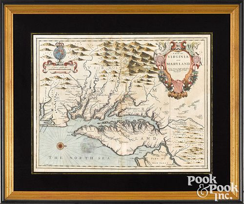 Color engraved Map of Virginia and Maryland