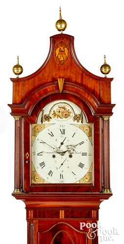 New York Federal mahogany tall case clock