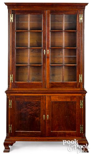 Southern Chippendale walnut two-part bookcase