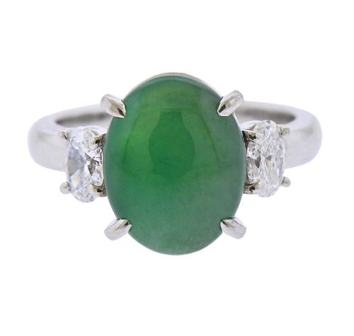 Platinum 4.40ct Natural Jadeite Jade Diamond Ring