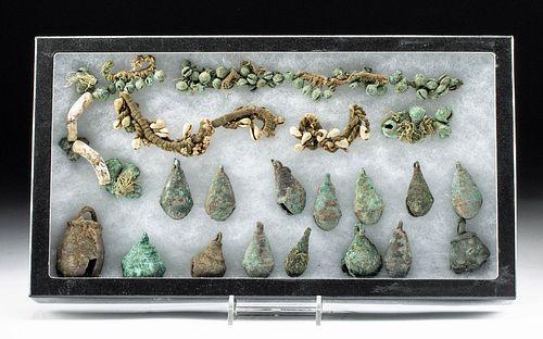 Lot of 28 Mixtec Copper Bells, Fiber & Shell Jewelry