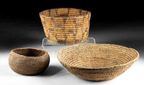 Three 19th C. Native American Woven Fiber Baskets