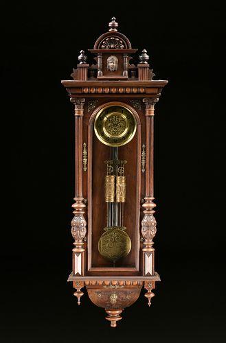 AN ANTIQUE BRONZE MOUNTED WALNUT REGULATOR WALL CLOCK, POSSIBLY AUSTRIAN, CIRCA 1890,