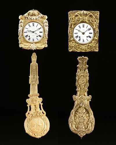 A GROUP OF TWO COMTOISE MORBIER GILT PRESSED BRASS WALL CLOCKS, SIGNED, LATE 19TH CENTURY,