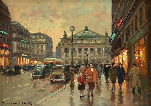 """ÉDOUARD CORTÈS (French 1882-1969) A PAINTING, """"Palais Garnier and Automobiles at Sunset,"""""""