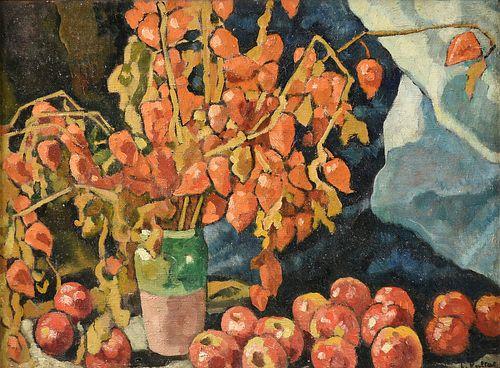 "LOUIS VALTAT (French 1869-1952) A PAINTING, ""Physalis et Pommes,"" 1941,"