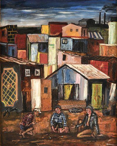 """ANTONIO BERNI (Argentinian 1905-1981) A PAINTING, """"Juanito y sus Amigos en Villa Piolín,"""" 1960,"""