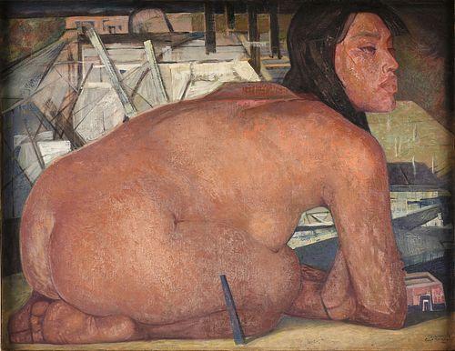 """JORGE GONZÁLEZ CAMARENA (Mexican 1908-1980) A PAINTING, """"Mujer Sentado,"""" 1961,"""