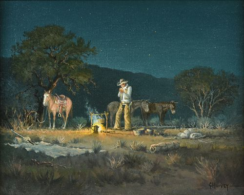 """GERALD """"G. HARVEY"""" JONES (American 1933-2017) A PAINTING, """"The Lone Camper, Starry Night,"""""""